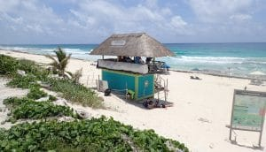 Beach Lifeguard Hut with Blue Ocean
