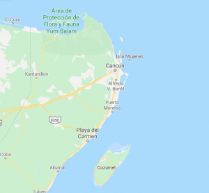 Map showing Cancun as related to Cozumel