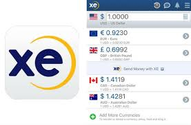 Screen shot of XE Currency mobile app
