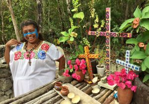Mayan ceremony with offerings