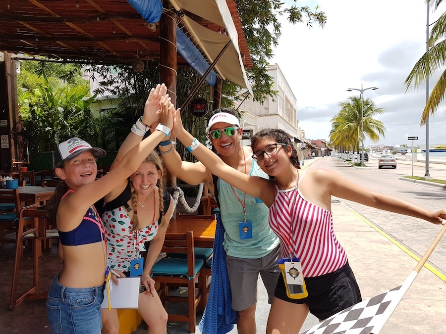 Family with kids finishing the Cozumel Amazing Race