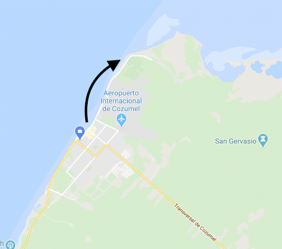 Map with arrow of this walk path