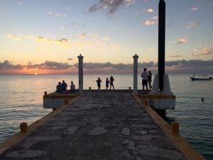 Families with kids at sunset in Cozumel