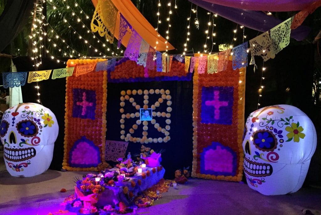 day of the dead display in Cozumel's plaza celebration