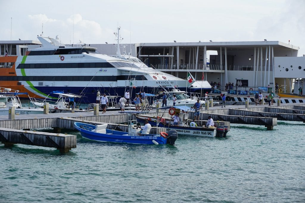 ferry and boats in Cozumel getting ready for a day's work
