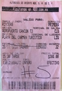 pink bus ticket example for ADO bus