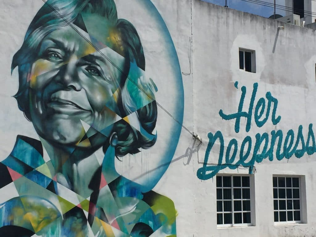 Seawalls mural of Sylvia Earle, famous oceanographer and TED talker