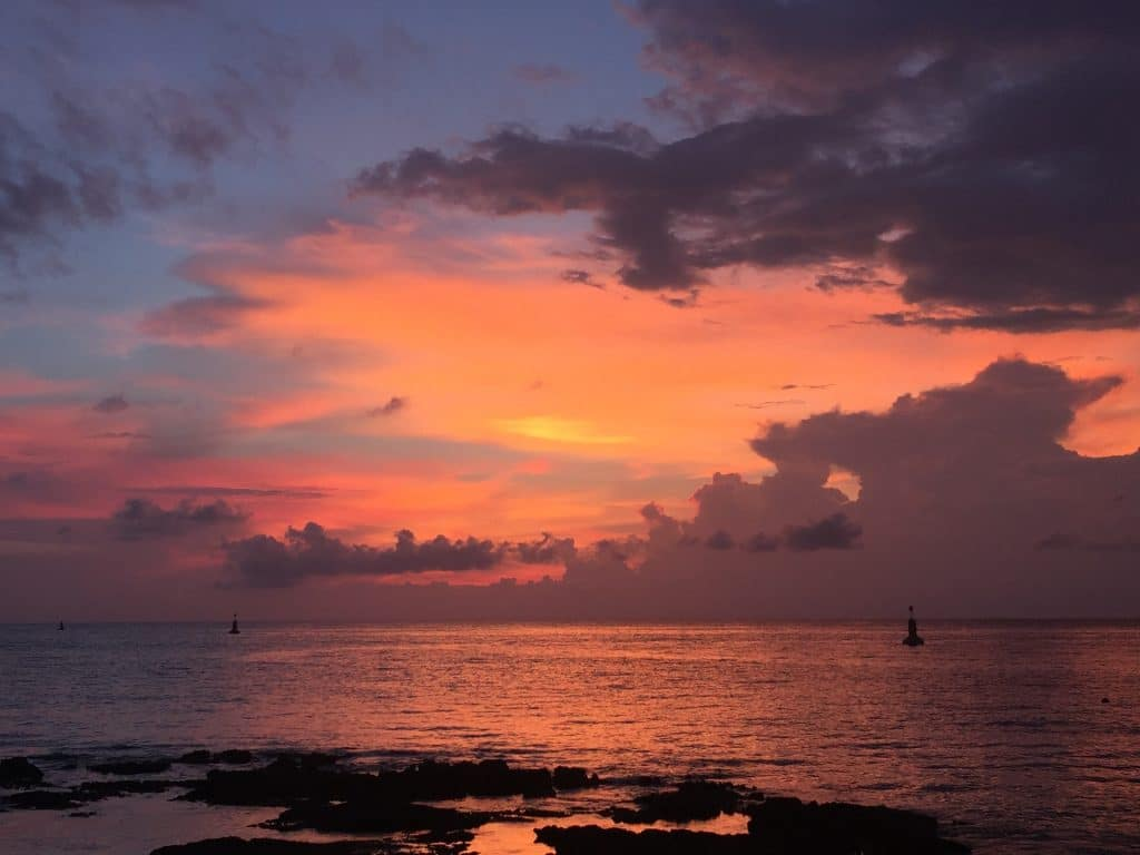 brightly colored sunset in Cozumel