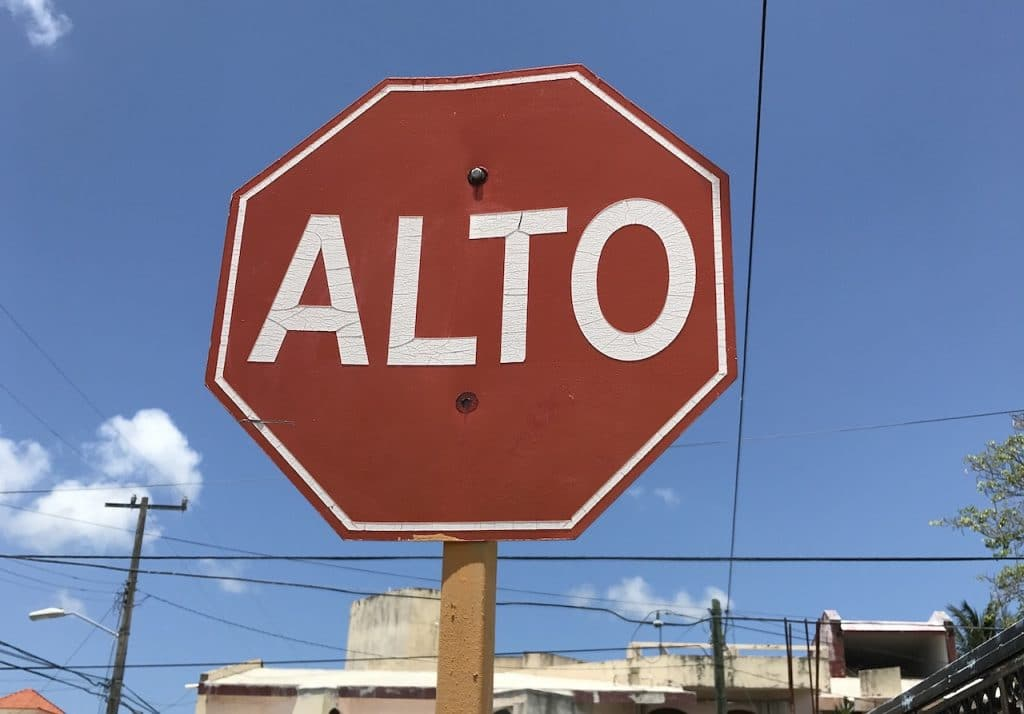 Red octagonal stop sign in Cozumel