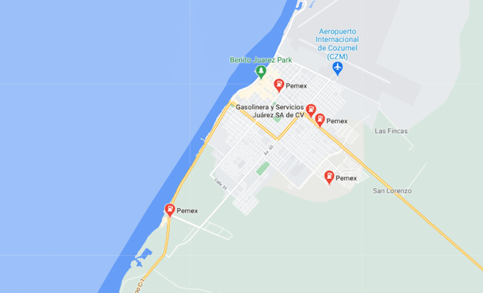 map view with gas stations marked with locator pins