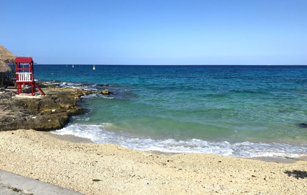 Small cute public beach access just south of downtown Cozumel