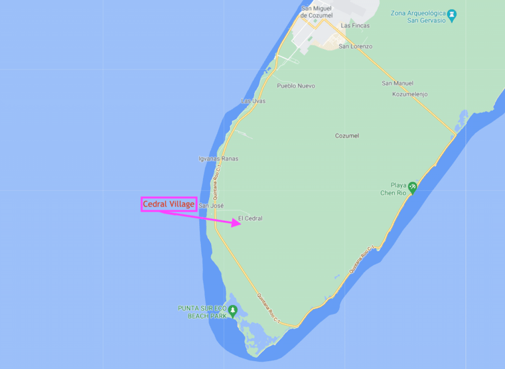 Google map frame showing arrow pointing to location of old Cedral Village in Cozumel