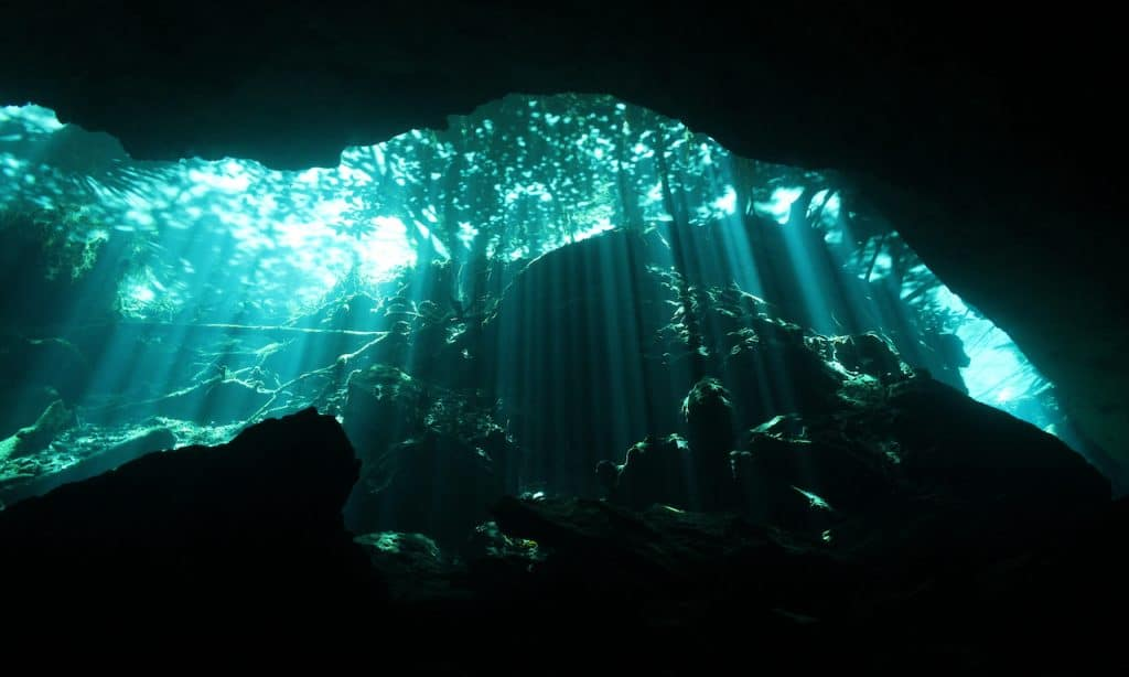 The well-known Chac Mool cenote cavern in Mexico's Yucatan Peninsula, a good beginner cenote for divers.