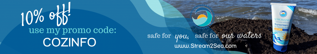 Ad banner for 10% off Stream2Sea reef-safe products