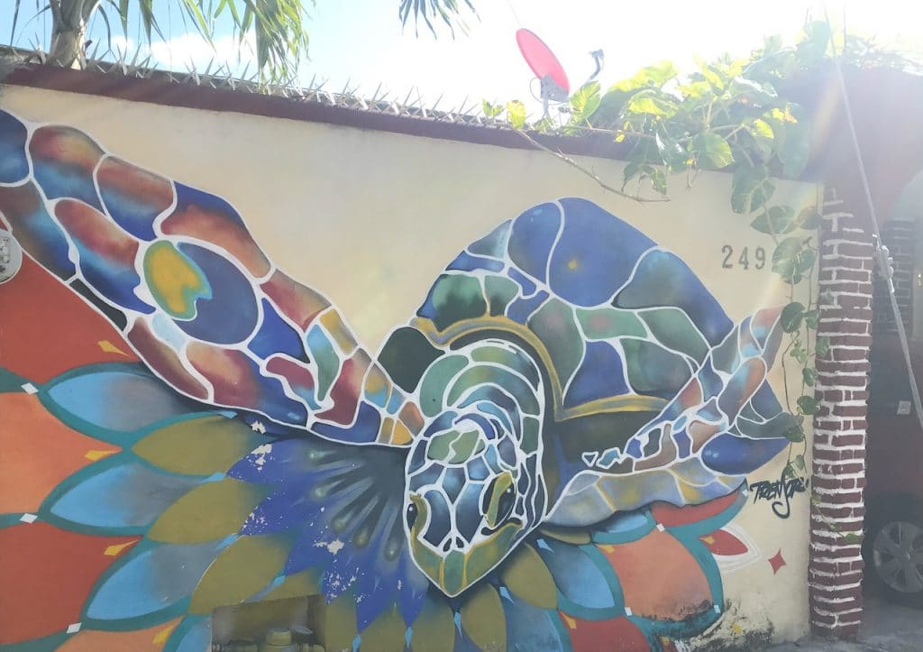 Street mural of a graphic sea turtle and stylized lotus flower.